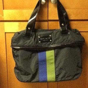 Kate Spade Black Ribbon Nylon Patent Trim Tote Bag